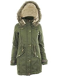 Twila Frauen Baumwolle Twill Obermaterial Polyester Gefüttert Furs Pelzkragen mit Kapuze Damen Parka-Jacken-Mantel