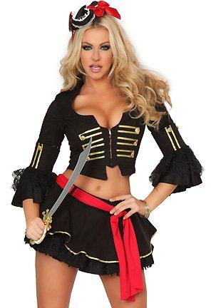 Leg Avenue - 3-teilig - Shipwreck Vixen Kostüm - S - Schwarz - 83415 (Vixen Kostüm)