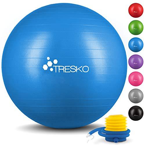 TRESKO® Anti-Burst Gymnastikball 55cm 65cm 75cm 85cm   Sitzball   Yogaball   300 kg   mit Luftpumpe (Blau, 75cm (geeignet für 175-185cm))