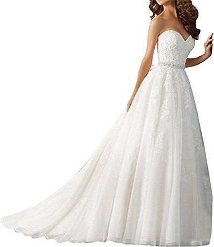 Cloverbridal Spitze Herzausschnitt Hochzeitskleider Brautkleider Brautmode Prinzess A-linie Rock mit...