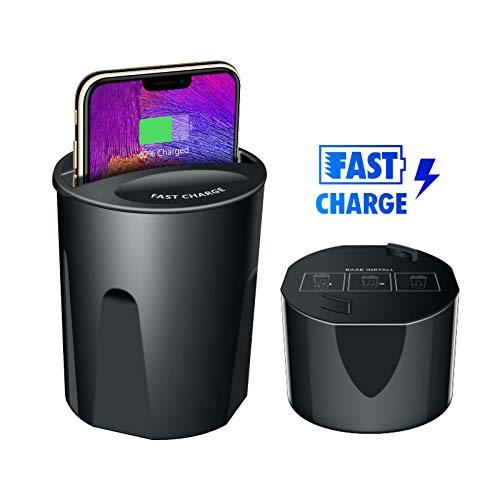 EEEKit Supporto per Tazza caricabatteria per Auto Wireless, 2 in 1 caricabatteria per Auto Veloce Wireless Qi con Porta USB Supporto per caricabatteria Supporto per iPhone Samsu