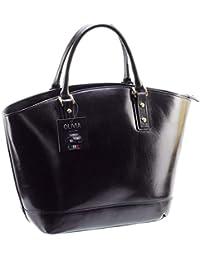 Olivia - Cabas / Sac à main cuir noir Sac en cuir véritable N1580 / Cuir Italien / LIVRAISON GRATUITE - Noir, Cuir