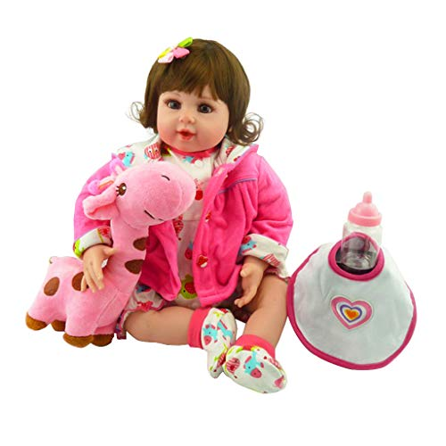 Koehope Puppe 22 Zoll Silikon Lebensechte Babypuppe Lätzchen Cartoon Onesies Mit Kapuze Mantel Haarspange Hirsch Frühen Kindheit Kinder Reborn Doll Spielzeug (Barbie Nägel Puppe)