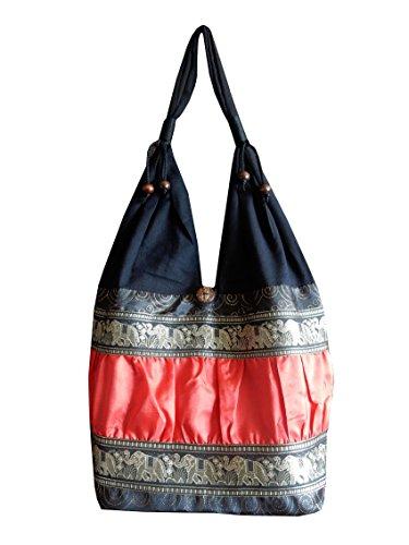 Schultertasche aus Baumwolle / Seide mit Elefanten, Blumen und Kringel Muster, schwarz / rot, 30 x 15 x 27 cm (l x b x h), Gesamthöhe: 60 cm (Blumen-seide Tasche)