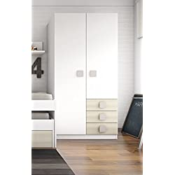 Armario ropero blanco con 3 cajones color haya para habitación juvenil. 200x100x55,5cm