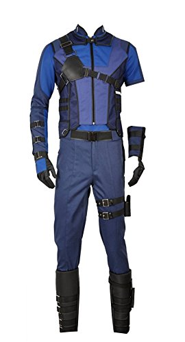 cosplayfly Erwachsene Captain America Clint Barton Cosplay Kostüm Full Set, Collegejacke, Schwarz