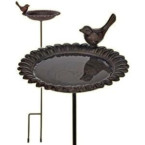 57027 baignoire pour oiseaux en fonte avec perche marron antique jardin - Baignoire oiseaux jardin ...