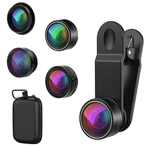 【2019 NEW】ORIA 5 in 1 Clip-On Handy Objektiv Kit, Professionel CPL Zirkular Polarisiert Len + 2X Teleobjektiv + 0.63X Weitwinkelobjektiv + 15X Makro Objektiv + 198°Fisheye Objektiv für Smartphones