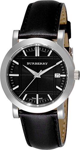 Burberry orologio unisex donna uomo Heritage Swiss lusso rotondo in acciaio INOX nero data quadrante nero in pelle Band 38mm BU1354