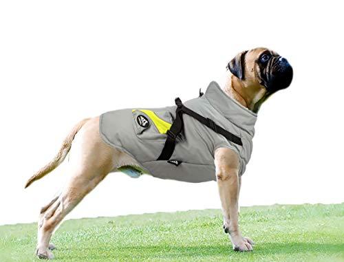 Babydog Ropa para Perros Mascotas, Abrigos Chaquetas de Invierno Suave,Chaleco arnés de Perro Traje de Suéter con Bolsillos (L, Gris)