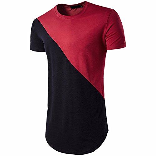QIYUN.Z Männer Patchwork Farbe Hip Hop Kurzarm T-Shirts Casual Lange T-Shirts Rot