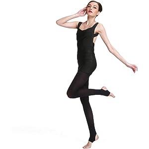 DANCEYOU 2 paia 70 denari Staffa Balletto Dance Collant Gambali opachi elastici per donne e ragazze Nero