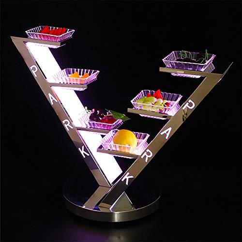 Yajun Tortenständer Snack Servier Platte Led Licht Vorspeisenplatte Kreative Trockenfrüchte Platte Haushalt Dessert Candy Dish Edelstahl Aufbewahrungs Schüssel