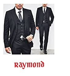 Raymond Royal Classic Suit Fabric 1Pc 3.25 Meter Length for Mens (Solid Black)