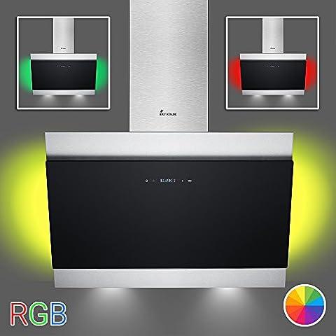 KKT KOLBE BICOLORE80SM Wand-Dunstabzugshaube / 80 cm kopffrei / Ambiente-Beleuchtung / LED Multicolor / schwarz / SensorTouch Display / Nachlauffunktion / LED-Beleuchtung / Leichte Montage