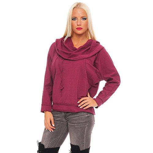 ZARMEXX Damen Sweatshirt Kapuzenpullover Vintage Hoodie Soft Cotton Oversize Longsleeve Pulli Bordeaux