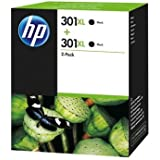 HP 301XL Multipack Original Druckerpatronen mit hoher Reichweite (2x Schwarz) für HP Deskjet 1000, 1010, 3000, 1050, 1050A, 1510, 2050, 2050A, 2510, 2540, 3050, 3050A, 3055A; HP Officejet 2620, 4630; HP ENVY 4500, 4504, 5530