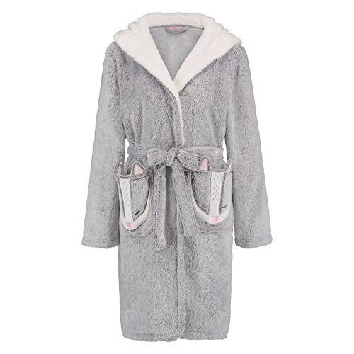 Hunkemöller Damen Bademantel Fleece 119236 Grau XS/S
