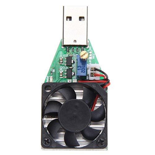 15W USB Lastwiderstand Strom Tester 0,15–3,00A verstellbar Konstantstrom USB Elektronische Last mit Fan (Entladung Fan)