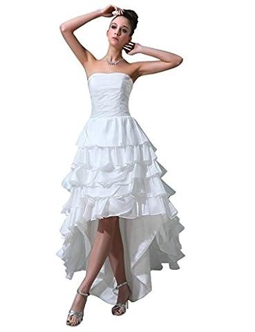 Dearta Women's A-Line Sweetheart Asymmetrical Wedding Dresses US 18 White