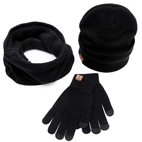 Yinroom Männer Frauen Unisex Winter Warme Strickmütze Fleece Gefüttert Beanie Cap + O Ring Schal + Touchscreen Handschuhe Sport Handschuhe 3 Teile/Satz (Color : Black)