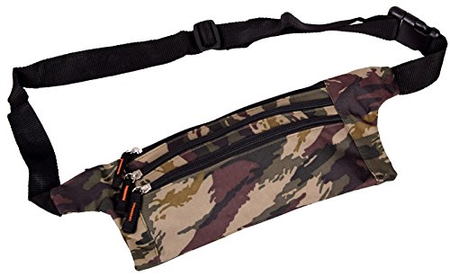 IWEA Flache Bauchtasche Hüfttasche Geldgürtel Gürteltasche für Damen und Herren enganliegend In Army Camouflage Muster