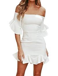 Longra Abito Manica Maniche in Pizzo con Spalle Scoperte Bianco Vestiti  Donna Elegante Cerimonia Mini Vestito 87889925664