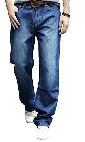 MILEEO Jeans Männer Frühling Sommer Locker Gerade Casual Hosen plus Dünger XL Blau