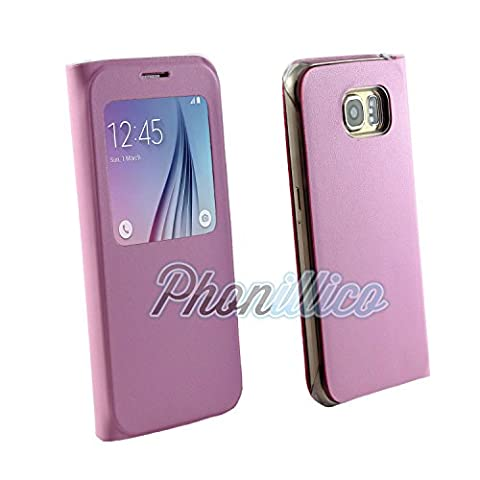 Phonillico® Coque Flip Cover S-View Rose pour Samsung Galaxy S6 - Coque Housse Etui Case Protection Rabat Fenetre Window View Ultra Slim