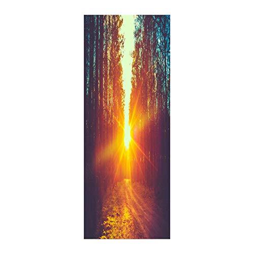 wangzhanping All\'aperto Foresta Luce Solare Dorata Paesaggio Decorazione Domestica Staccabile Soggiorno Studio Adesivo per Porta Adesivo da Parete f12