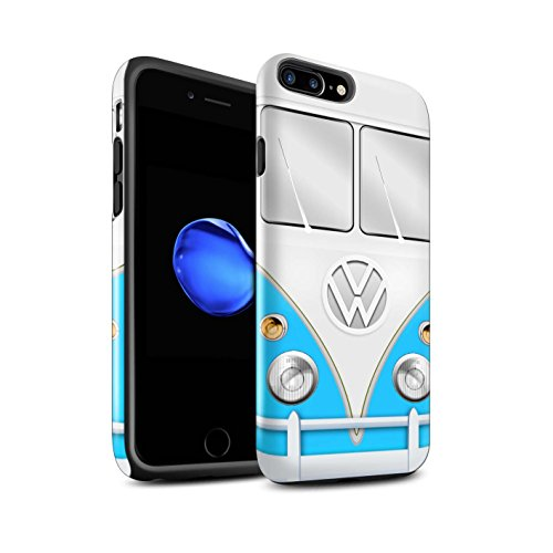 STUFF4 Glanz Harten Stoßfest Hülle / Case für Apple iPhone 8 Plus / Grün Muster / VW Campingbus Kollektion Blau