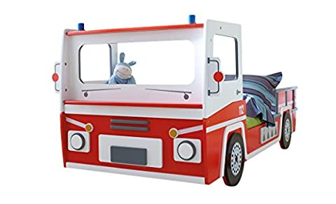 Feuerwehrbett Max, Autobett Kinderbett mit Lattenrost - 90x200 cm, Spielbett