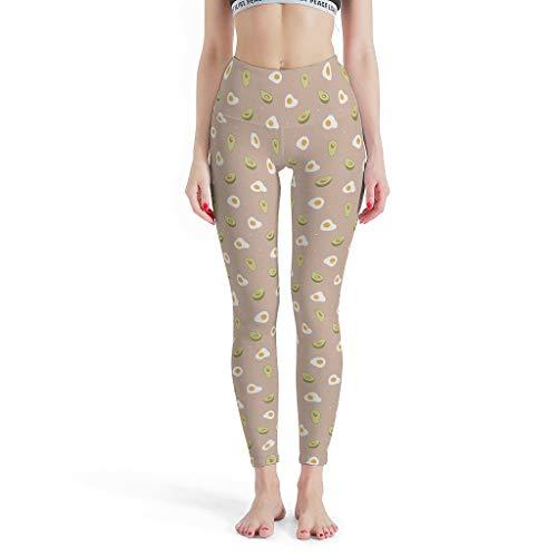 O4EC2-8 Damen Design Legging Yoga Retro Hohe Leibhöhe Avocado pochiertes Ei Hose Yoga Aktives Training Tight Leggings…
