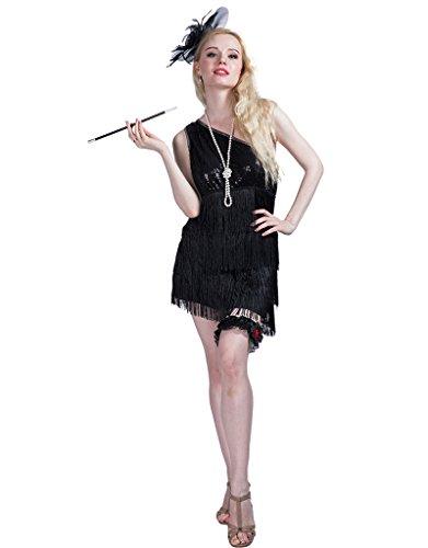 Karneval Kostüme: Party Kostüme: Stilvolle weibliche Kostüme: Mode der 1920er Jahre: Sexy Black and Pink - 1920 Kostüm Weiblich