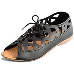 Myra Women Black Flat Sandal ( Women Casual | Party Wear Footwear ) (MSX627C2S7)