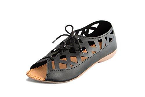 Myra Women Black Flat Sandal ( Women Casual | Party Wear Footwear ) (MSX627C2S8)