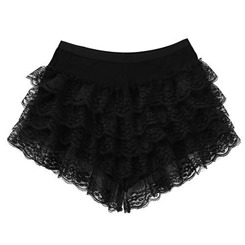 Hipster Spitze Rüschen Sexy Shorts Hot Pants Leggings Tights Sicherheits Unterhosen Unterwäsche Schwarz Weiß Schwarz One Size ()