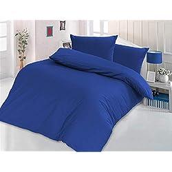 Style Heim 3 TLG. Bettwäsche, Renforcé-Baumwolle, Einfarbig Uni Reißverschuss, 200x200, Blau