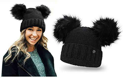 HEYO Damen Wintermütze mit Fleece Innenband Slouch Beanie Winter Mütze | Warme Strickmütze mit Zwei Bommeln | Bommelmütze mit Katzenohren (Schwarz)