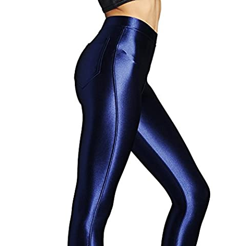 NEW American Style Apparel Shiny High Waisted Stretchy Disco Pants Leggings (M(UK10-12), Midnight