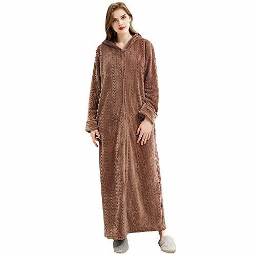 Oksun Damen Fleece-Bademantel, Übergröße, mit Reißverschluss Gr. 42/48 DE (Etikette XL), Hood-Brown -