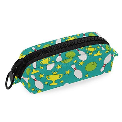 Federmäppchen mit Bowlingkugel-Muster, mit großem Reißverschluss, für Kinder, Leinen, große Kapazität, für Make-up, Kosmetik, Büro, Reisetasche