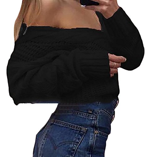 Minetom Damen Pullover Langarm Sweatshirt Herbst Winter Pulli Tiefer V-Ausschnitt One Shoulder Einfarbig Loose Fit Schwarz DE 34 (Blossom Blk)