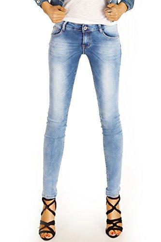 Bestyledberlin Damen Jeans, Basic Skinny Fit Denim Hosen, enge Röhrenjeans Stone Washed j85kw 40/L