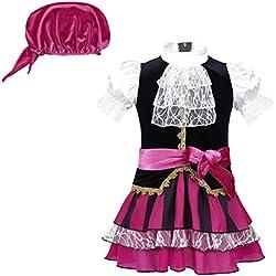 Disfraz de pirata para bebé, negro y rosa, varias tallas.