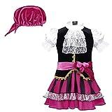 Freebily 3Pcs Disfraz de Pirata Bebé 2 Años Disfraces de Cosplay para Fiesta Traje Vestido Playa Infántil Halloween Niños 0-24 Meses Negro&Rosa Rojo 0-6 Meses