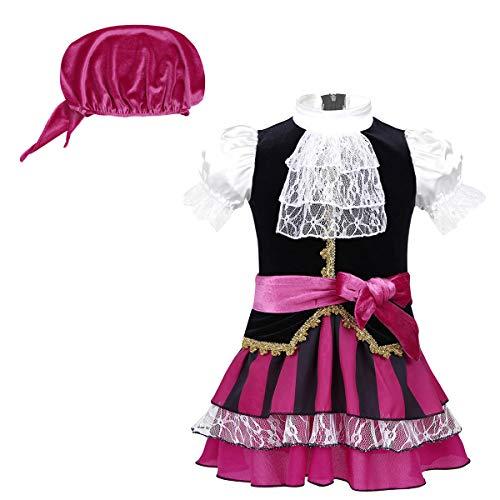 Tiaobug Baby Mädchen 3pcs Kleidung Set Piraten Kostüm Prinzessin Gothic Kleid+ Schärpe+ Piratentuch Kopftuch für Karneval Fasching Halloween Motto Partys Schwarz&Purpurrot 110/116(Brust 58cm)