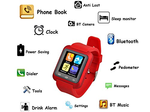 Lenovo Lemon 3 U8 Wearable 1.45&Quot Touch Screen Smart Bluetooth Watch With Pedometer /Barometer /Altimeter /Stopwatch - RED BY OASIS