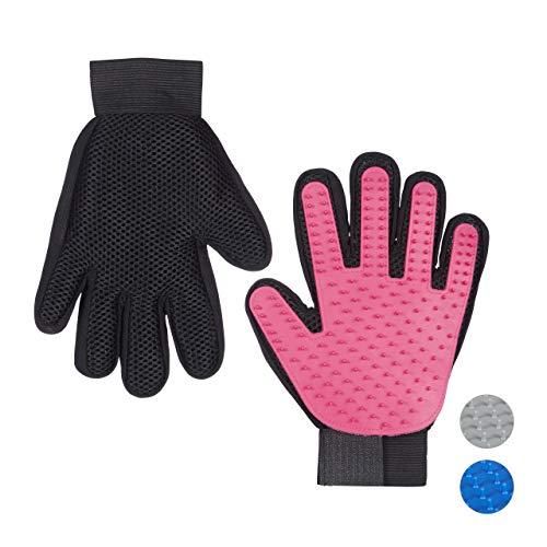 Relaxdays Fellpflege Handschuh, 1 Paar, Bürste für Enthaarung & Massage, Hund & Katze, Kämmhandschuh, Gumminoppen, pink
