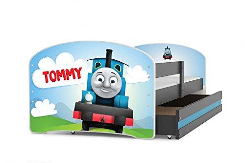 *Kinderbett LUKI, Farbe: Grau 160x80cm, mit Matratze, Lattenrost und Schublade (TOMMY)*
